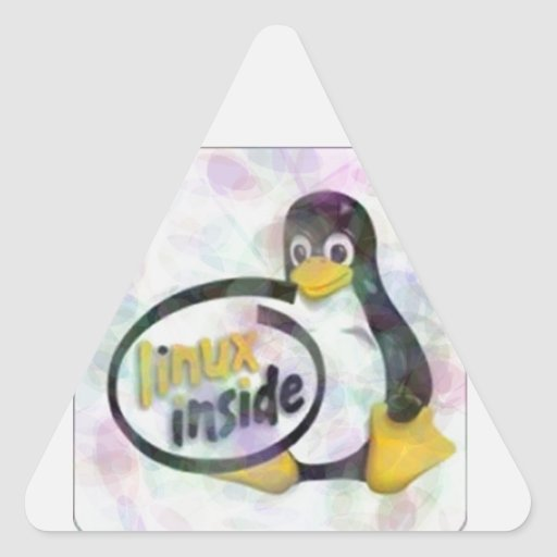 LINUX DENTRO de Tux el logotipo del pingüino de Pegatina Triangular