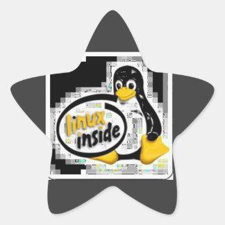LINUX DENTRO de Tux el logotipo del pingüino de Colcomanias Forma De Estrella Personalizadas