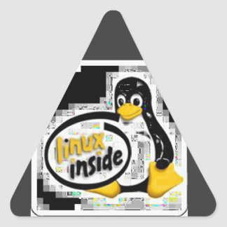 LINUX DENTRO de Tux el logotipo del pingüino de Calcomanía Triangulo