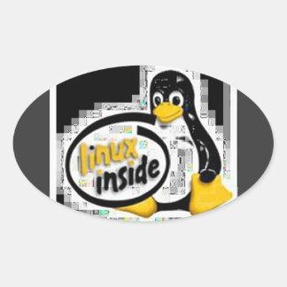 LINUX DENTRO de Tux el logotipo del pingüino de Calcomanía De Ovaladas