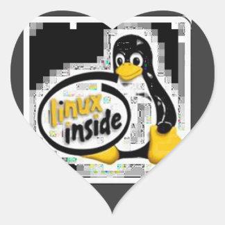 LINUX DENTRO de Tux el logotipo del pingüino de Pegatinas De Corazon Personalizadas
