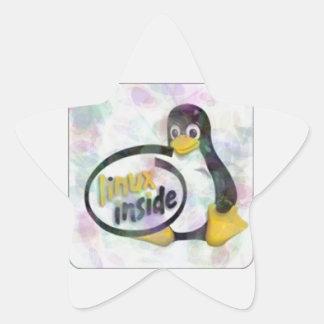 LINUX DENTRO de Tux el logotipo del pingüino de Calcomanía Forma De Estrella Personalizada