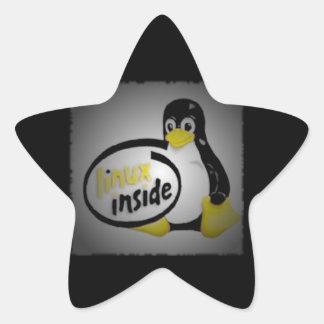 LINUX DENTRO de Tux el logotipo del pingüino de Calcomanía Cuadrada