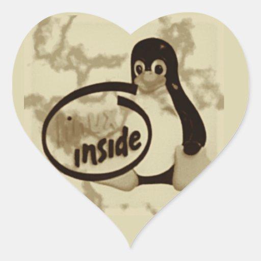 LINUX DENTRO de Tux el logotipo del pingüino de Pegatina En Forma De Corazón