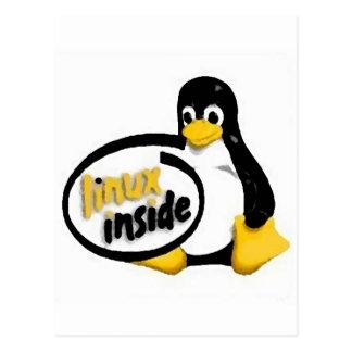 LINUX DENTRO de Tux el logotipo del pingüino de Postales