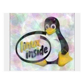 LINUX DENTRO de Tux el logotipo del pingüino de Tarjetas Postales
