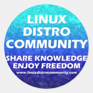 Linux Distro Community Round Sticker 2 Sizes Round Sticker