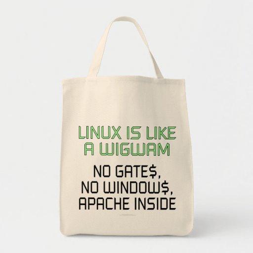 Linux es como una tienda india. Ningunas puertas,  Bolsas De Mano