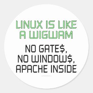 Linux es como una tienda india. Ningunas puertas, Etiqueta Redonda