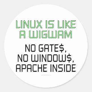 Linux es como una tienda india. Ningunas puertas, Pegatina Redonda