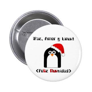 Linux Feliz Navidad Pin Redondo De 2 Pulgadas