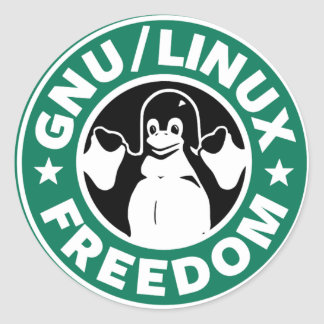 linux frees classic round sticker