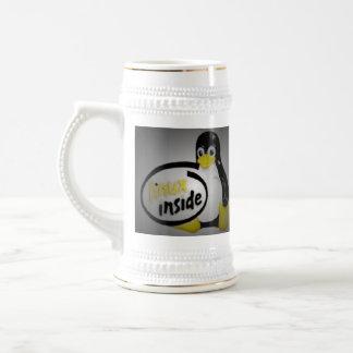 LINUX INSIDE Tux the Linux Penguin Logo Beer Stein