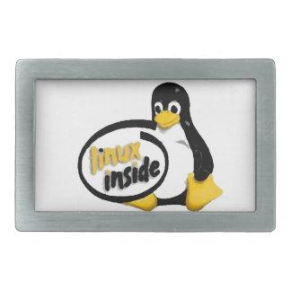 LINUX INSIDE Tux the Linux Penguin Logo Rectangular Belt Buckle