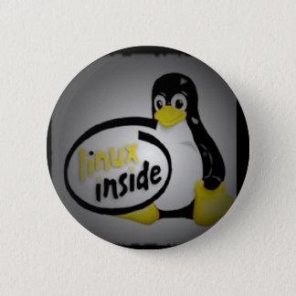 LINUX INSIDE Tux the Linux Penguin Logo Button