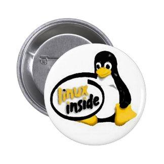 LINUX INSIDE Tux the Linux Penguin Logo 2 Inch Round Button