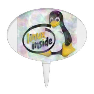 LINUX INSIDE Tux the Linux Penguin Logo Cake Topper