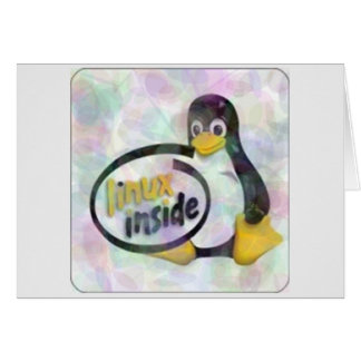 LINUX INSIDE Tux the Linux Penguin Logo Greeting Card