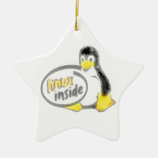 LINUX INSIDE Tux the Linux Penguin Logo Ceramic Ornament