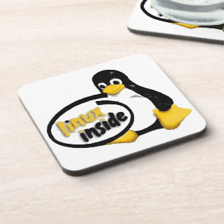 LINUX INSIDE Tux the Linux Penguin Logo Coaster