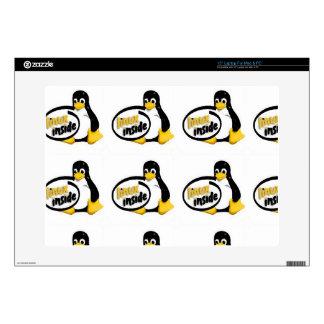 "LINUX INSIDE Tux the Linux Penguin Logo Decal For 15"" Laptop"