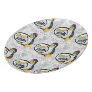 LINUX INSIDE Tux the Linux Penguin Logo Dinner Plate