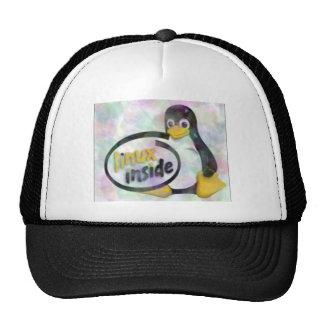 LINUX INSIDE Tux the Linux Penguin Logo Hats