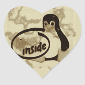 LINUX INSIDE Tux the Linux Penguin Logo Heart Sticker