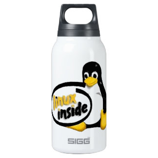 LINUX INSIDE Tux the Linux Penguin Logo Insulated Water Bottle