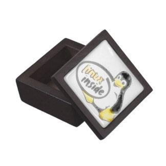 LINUX INSIDE Tux the Linux Penguin Logo Jewelry Box