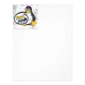 LINUX INSIDE Tux the Linux Penguin Logo Letterhead