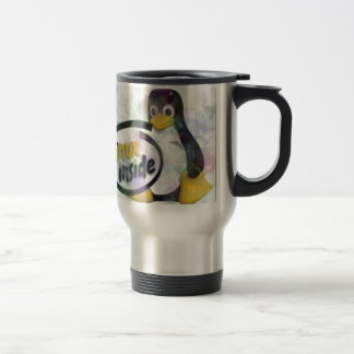 LINUX INSIDE Tux the Linux Penguin Logo 15 Oz Stainless Steel Travel Mug