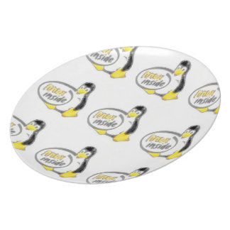 LINUX INSIDE Tux the Linux Penguin Logo Plate