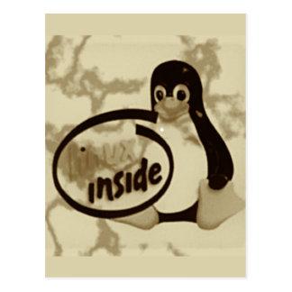 LINUX INSIDE Tux the Linux Penguin Logo Postcard