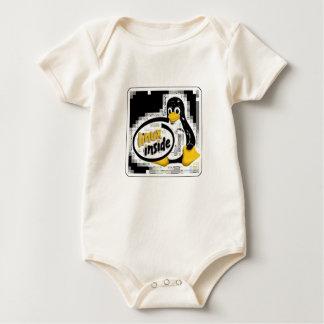 LINUX INSIDE Tux the Linux Penguin Logo Romper