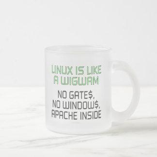 Linux is like a wigwam. No gates, no windows... 10 Oz Frosted Glass Coffee Mug