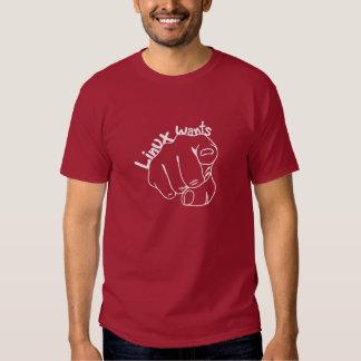 ¡Linux le quiere! (Oscuridad) Camisas