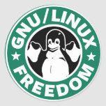 linux  libre pegatina redonda