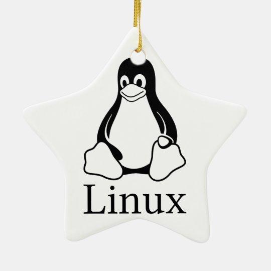 Linux Logo w/ Tux the Linux Penguin Ceramic Ornament