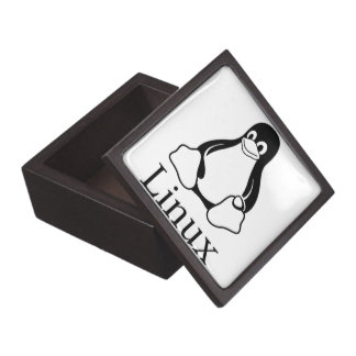 Linux Logo w/ Tux the Linux Penguin Keepsake Box