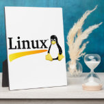 Linux Logo with Tux Products Plaques
