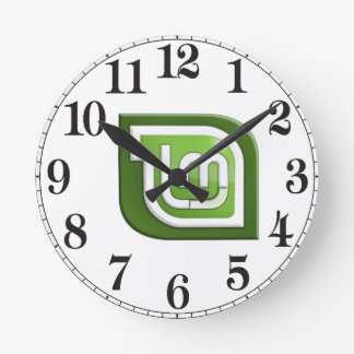 Linux Mint Logo Round Clock