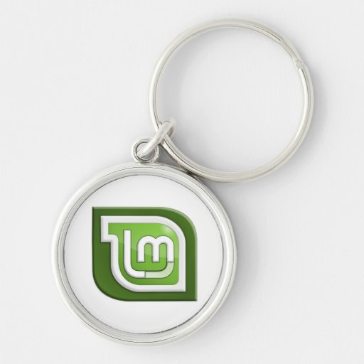 Linux Mint Logo Silver-Colored Round Keychain