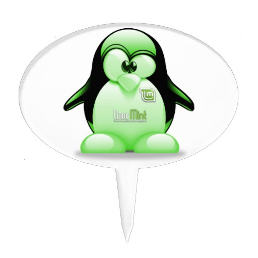 Linux Mint with Tux Logo Cake Toppers