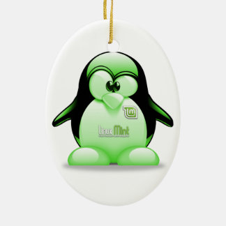 Linux Mint with Tux Logo Ceramic Ornament