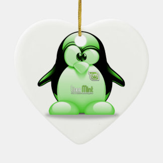 Linux Mint with Tux Logo Double-Sided Heart Ceramic Christmas Ornament