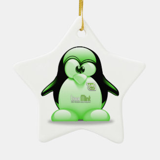 Linux Mint with Tux Logo Double-Sided Star Ceramic Christmas Ornament