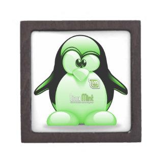 Linux Mint with Tux Logo Keepsake Box