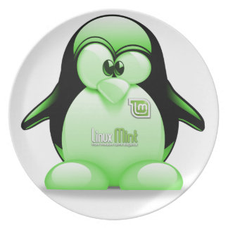 Linux Mint with Tux Logo Plate