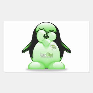 Linux Mint with Tux Logo Rectangular Sticker